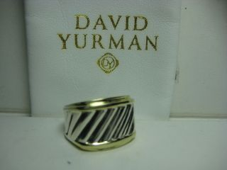 DAVID YURMAN AUTHENTIC STERLING &14K Y/G CABLE CIGAR BAND RING SZ
