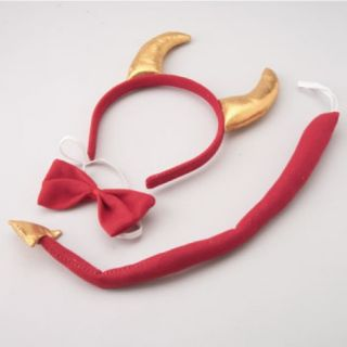 Red Devil Horn Horns Headband Tail Costume Dress Up