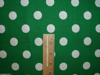 kelly GREEN large WHITE Polka Dot CIRCLES cotton fabric to SEW Your