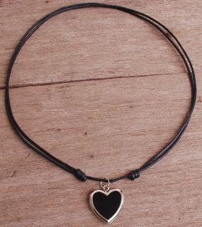 Love Heart Locket Metal Pendant w Black Cord Choker