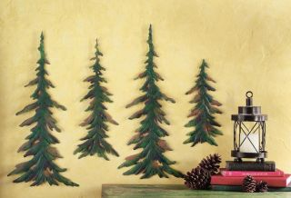 NEW SET OF 4 METAL PINE TREE FOREST WALL ART RUSTIC CABIN LODGE