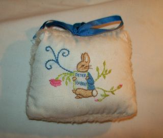 small hand embroidered babys decorative pillow music box Peter Rabbit