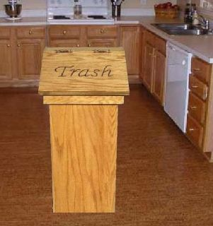 Wood Wooden Kitchen Trash Can Free Personalized Lid