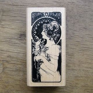 Decorative Stamps Art Nouveau The Feather Rubber Stamp