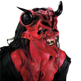 Dark Lord Red Devil Satan Halloween Costume Makeup Latex Prosthetic