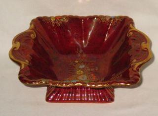 Fieldings Crown Devon Art Deco Square Bowl with Enamelled Floral