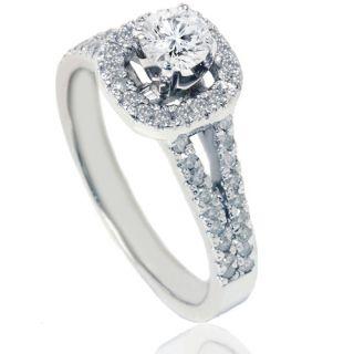 90ct Pave Cushion Halo Round Diamond Engagement Ring 14k White Gold
