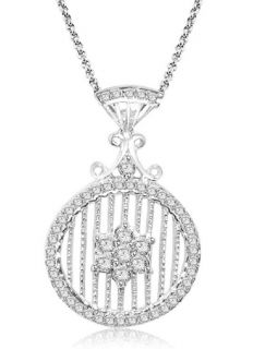Diamond Jewelry 14k White Gold Cluster Circle Pendant Necklace