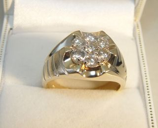 Mens 10K Yellow Gold 7 Diamond 1 00TDW Cluster Ring GIA Appraised $