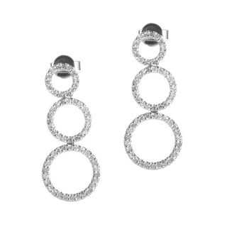 14k White Gold Openwork Diamond Drop Earrings