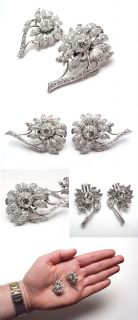 Vintage 4 Carat Diamond Earrings Floral Motif Solid Platinum Retro