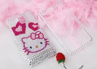 Bling Diamond Silver Kitty Heart Hard Case Skin for LG G2X Optimus 2X