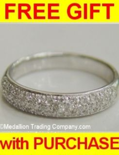 14k Whte Gold Pave Diamond Dome Band Size 6.75 Half Eternity Ring