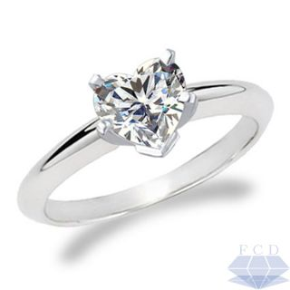 Cut F VS2 Diamond Solitaire Engagement Ring 14kt White Gold