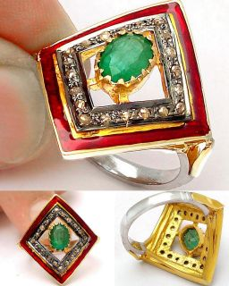 ZAMBIAN EMERALD DIAMOND 18K RED INLAY STERLING SILVER RING RC898