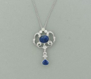 Estate 18K White Gold Sapphire Diamond Drop Pendant Necklace