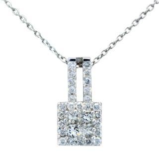 18K White Gold 66C Diamond Princess Solitaire Pendant Necklace