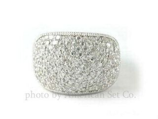 14k White Gold Pave Diamond Band Ring Rings Bands