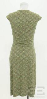 DVF Diane Von Furstenberg Green & Brown Printed Silk Dress Size 4