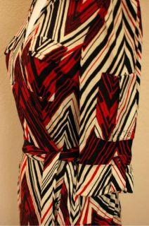 Diane Von Furstenberg Dress Wrap 100 Silk Red Black Pockets 3 4 Sleeve