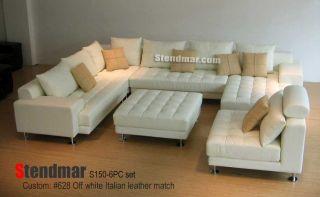 6pc Modern Design White Leather Sectional Sofa 150Q6P