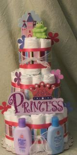 Tier Diaper Cake Pink Princess Its A Girl Baby Shower Centerpiece