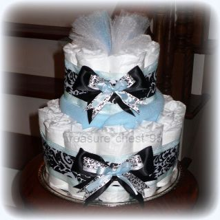 Tiffany Inspired Baby Shower Diaper Cake Centerpiece Decoration Blue