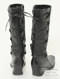 Diba Black Leather Lace Up Wedge Boots Size 39