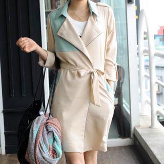 NEW MakMaks Premium Spring Delly Color Trench Coat Jacket Beige Mint