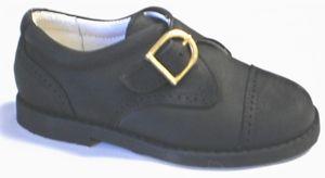 NIB de OSU Spain Boys Black Nubuck Leather Dress Shoes Euro 22 33 Sz 6