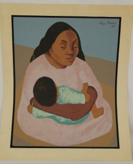 Diego Rivera Mexico 1886 1957 RARE Lihograph Prin of Woman w Child