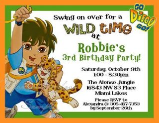 Go Diego Go Boy Personalized Jungle Birthday Party Invitations