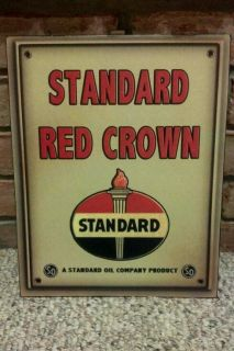 Standard Red Crown Amoco Advertising Metal Sign