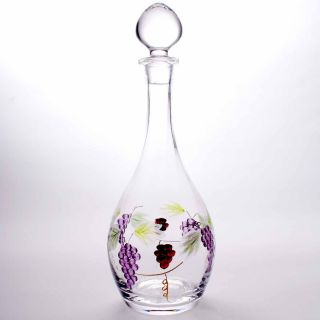 Wine Decanter Carafe Lead Free Crystal Hand Blown Painted Etched