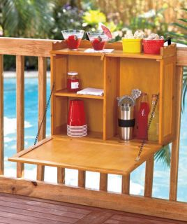 FOLDING WOOD DECK TABLE BAR TRAY RAILING PATIO PORCH BALCONY OUTDOOR