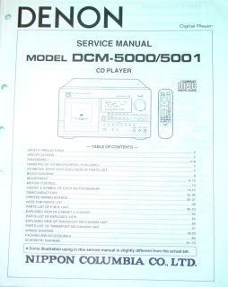 DENON CD PLAYER 100 DISC SERVICE MANUAL DCM 5000 DCM 5001