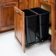 Pull Out Trash Can System Including Door Mount and 2 Cans Black