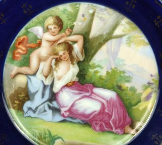 Antique Austria Cobalt Blue Plate Cherub Sleeping Lady Mint Marked