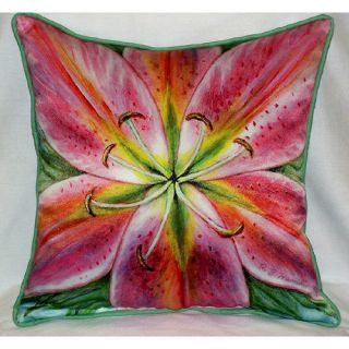 Indoor Outdoor Pink Lily Flower Decorative Art Throw Pillow