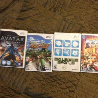 Wii Game Lot of 4 Games My Sims Pty Big League Sports Jet Ski Avatar
