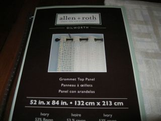 Allen Roth DILWORTH Grommet Top Panel Drape Curtain Semi Sheer IVORY
