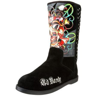 Ed Hardy Womens Bootstrap Boot 10FBS101W Skull Fashion Winter Boots