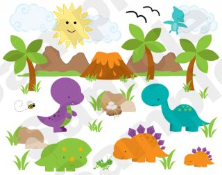 Dinosaurs Mural Volcano Baby Boy Nursery Kids Room Wall Stickers