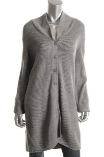 Designer Gray Ribbed Button Front V Neck Long Sleeves Cardigan Sweater