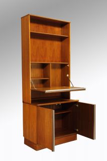 Danish Modern Teak Tall Secretary Desk Bookcase