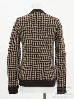 Veronique Branquinho Brown Tan Wool Houndstooth Cardigan Sweater Size