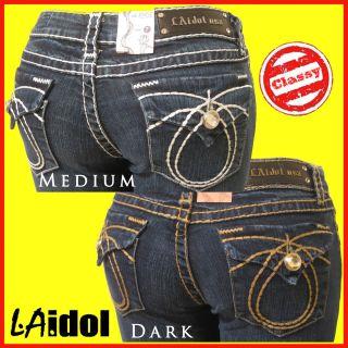 IDOL Sz 15 Sz 34 Womens Dark OR Blue Boot Jeans FREE Designer Perfume
