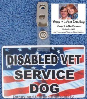 DISABLED VETERAN SERVICE DOG CLIP for collar vest