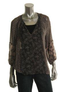 Designer Black Floral Print Silk V Neck Raglan Sleeves Blouse Top