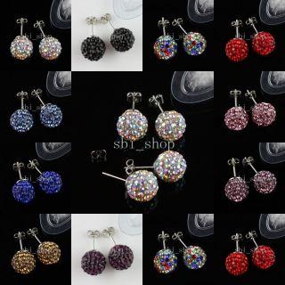 Pair Swarovski Crystal Silver Stud Disco Ball Earrings Jewelry
